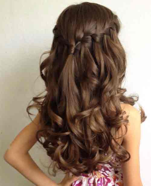 half up half down hairstyles with braids and curls little girls hairstyles for eid party 2017