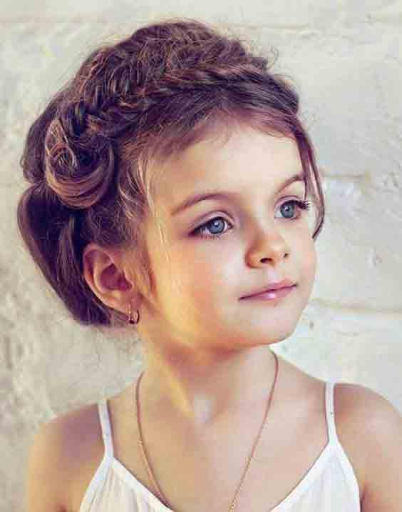 front braided hairstyles with hair bun little girls hairstyles for eid party 2017
