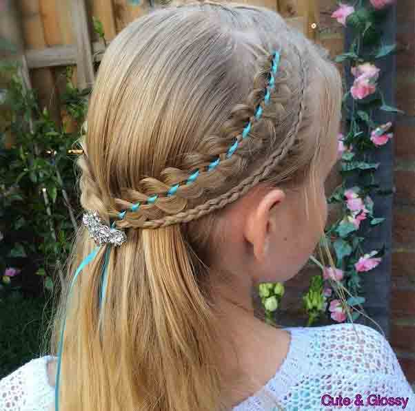 ribbon braided half up half down little girls hairstyles for eid party 2017