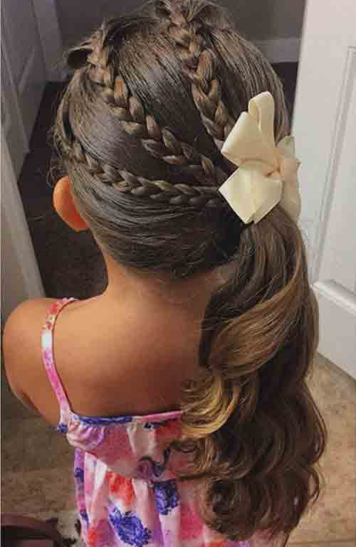 side braided ponytail little girls hairstyles for eid party 2017