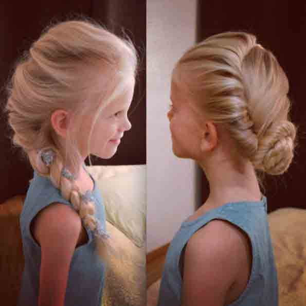 Frozen side braid and frozen hair bun little girls hairstyles for eid party 2017