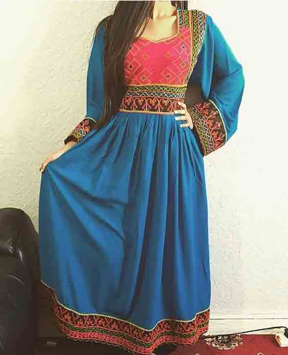 latest sky blue and pink pathani frock style dress designs 2017