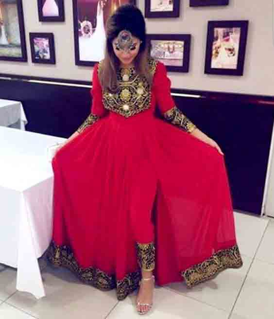 best red pathani frock style dress designs 2017 full frock