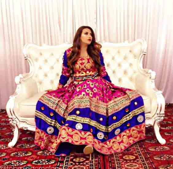 0b8ad2e8616 latest blue and shocking pink pathani frock style dress designs 2017