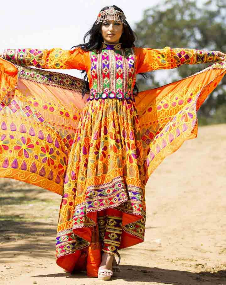 best long tail yellow and orange pathani frock style dress designs 2017
