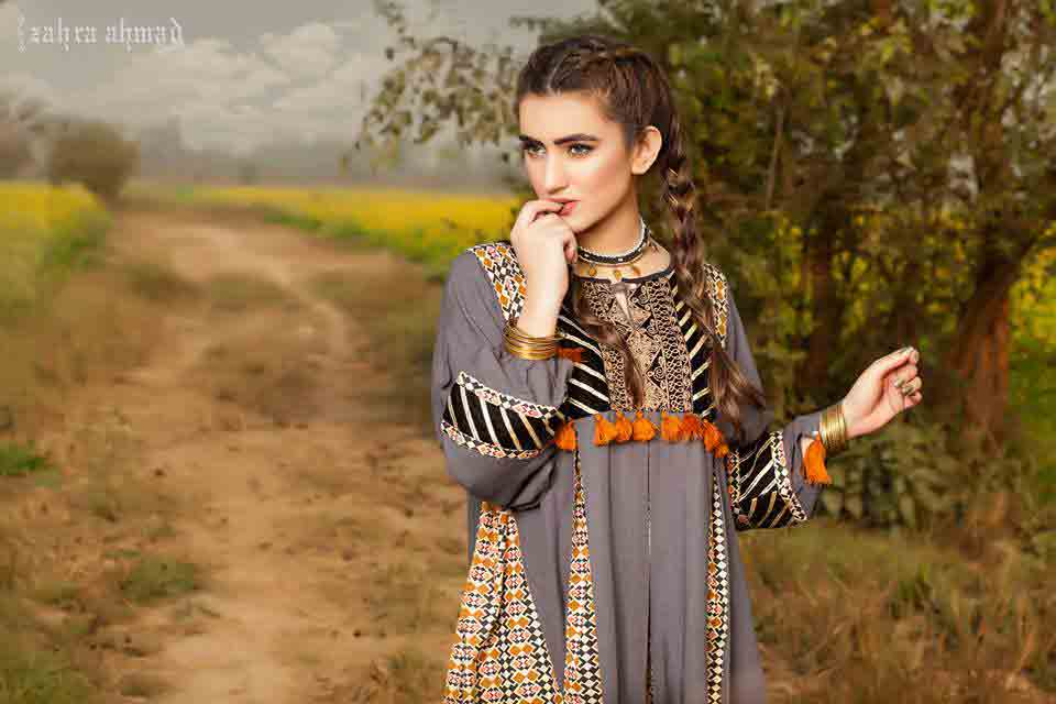latest gray pathani frock style dress designs 2017