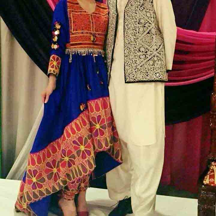 new blue and red long tail pathani frock style dress designs 2017