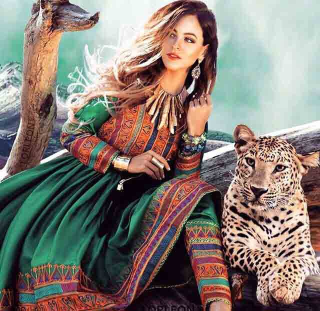 best green pathani frock style dress designs 2017