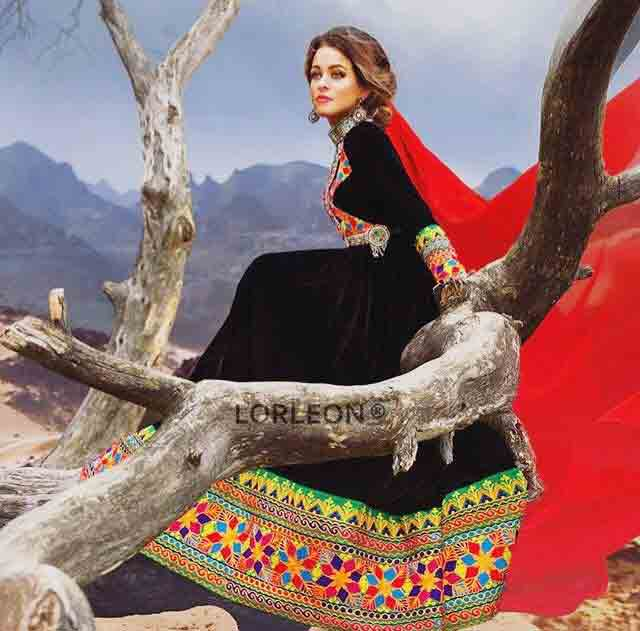 new black and red pathani frock style dress designs 2017
