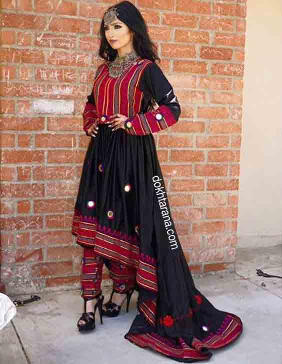 fancy red and black pathani frock style dress designs 2017
