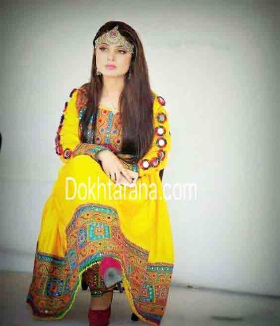 new yellow pathani frock style dress designs 2017