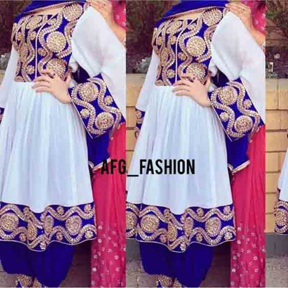 new white and blue pathani frock style dress designs 2017
