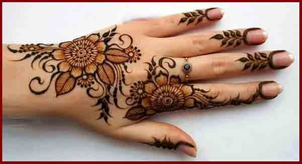 Back hand flowers simple Pakistani mehndi designs 2017 for eid