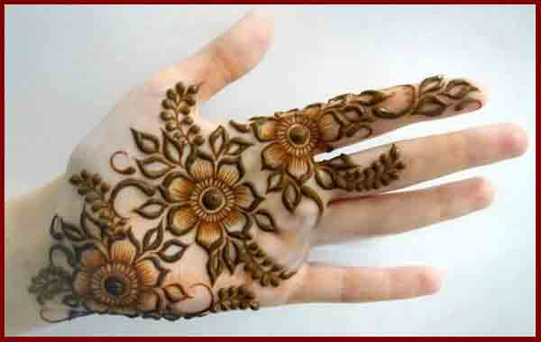 Front hand flower simple Pakistani mehndi designs 2017 for eid