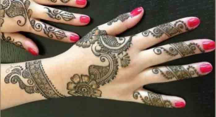 Best back hand and fingers simple Pakistani mehndi designs 2017 for eid