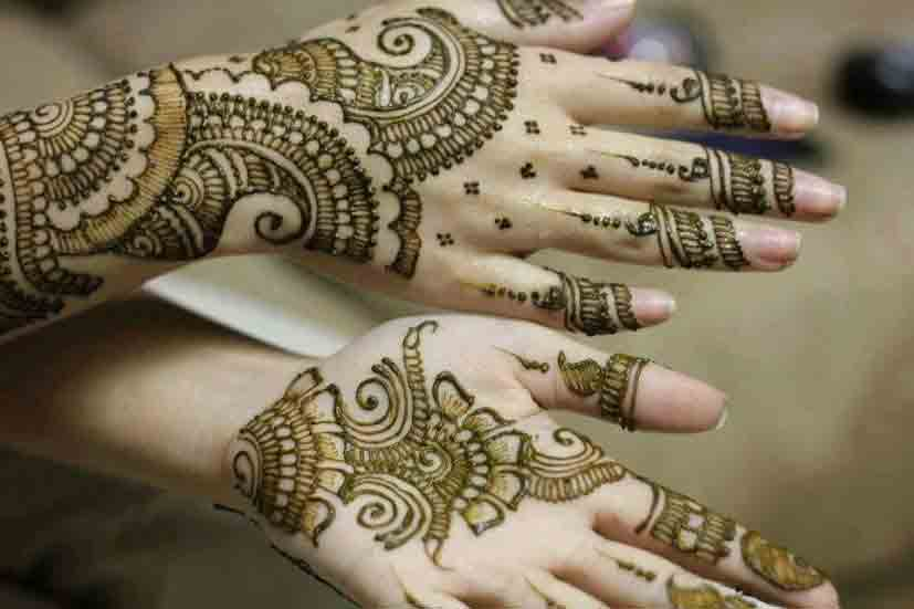 Front and back hand simple Pakistani mehndi designs 2017 for eid