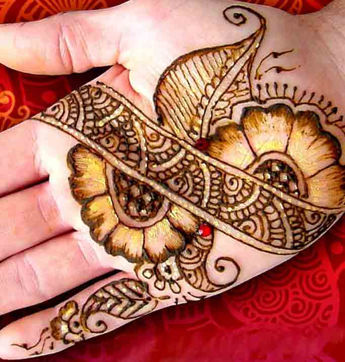 front hand or palm floral mehndi designs for men 2017