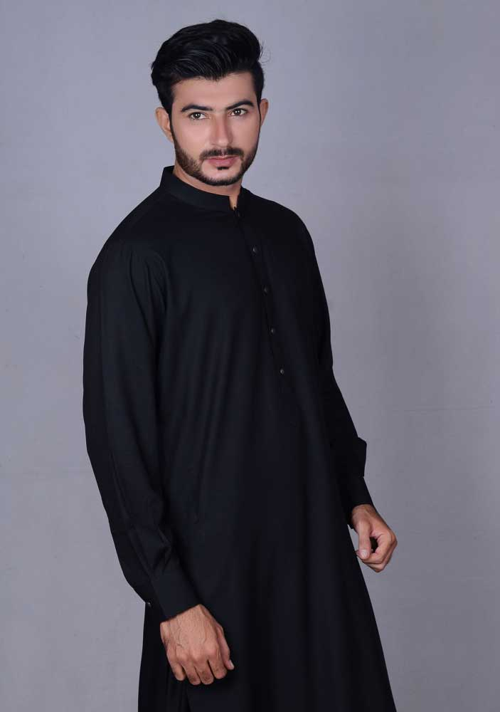 Black new Eid kurta dresses for boys 2017 Amir Adnan