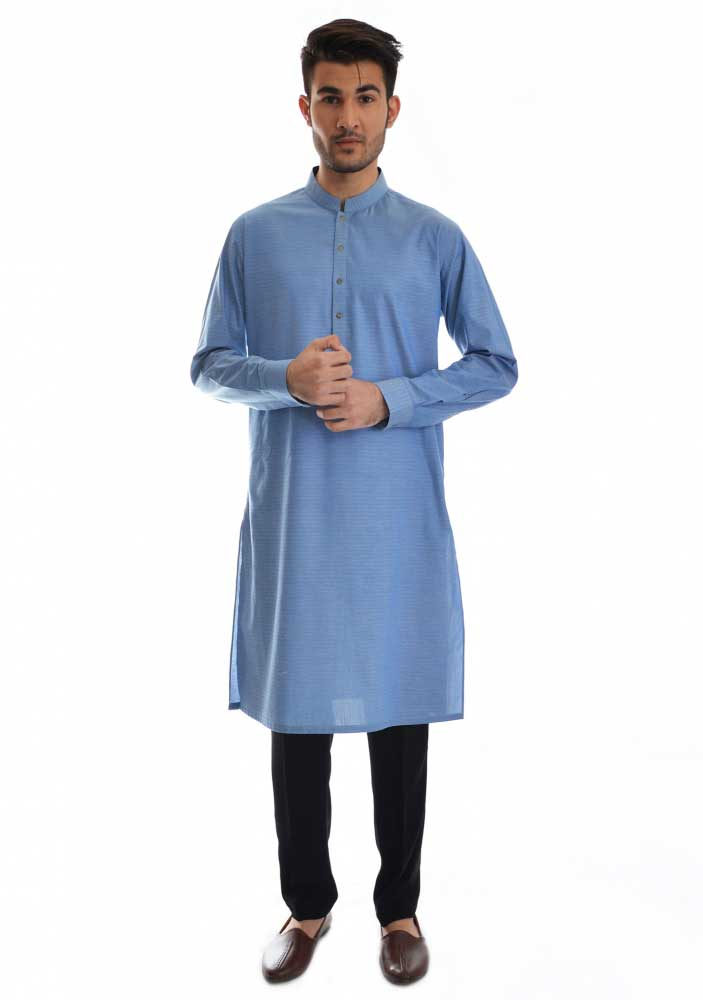 latest blue kameez with black pajama new Eid kurta dresses for boys 2017 Amir Adnan