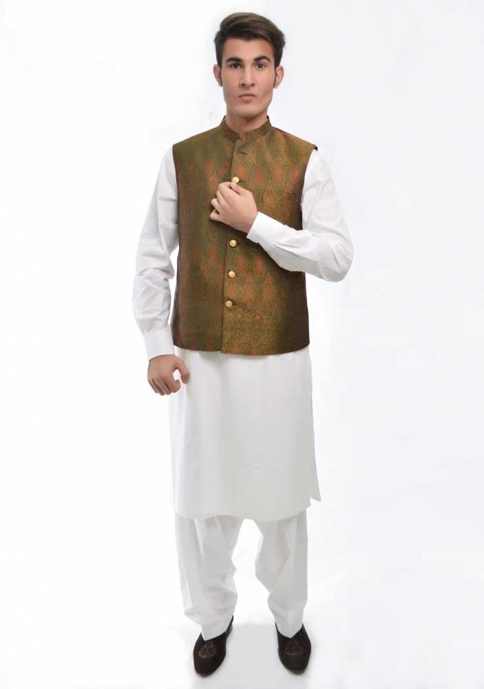 Green waistcoat new Eid kurta dresses for boys 2017 Amir Adnan