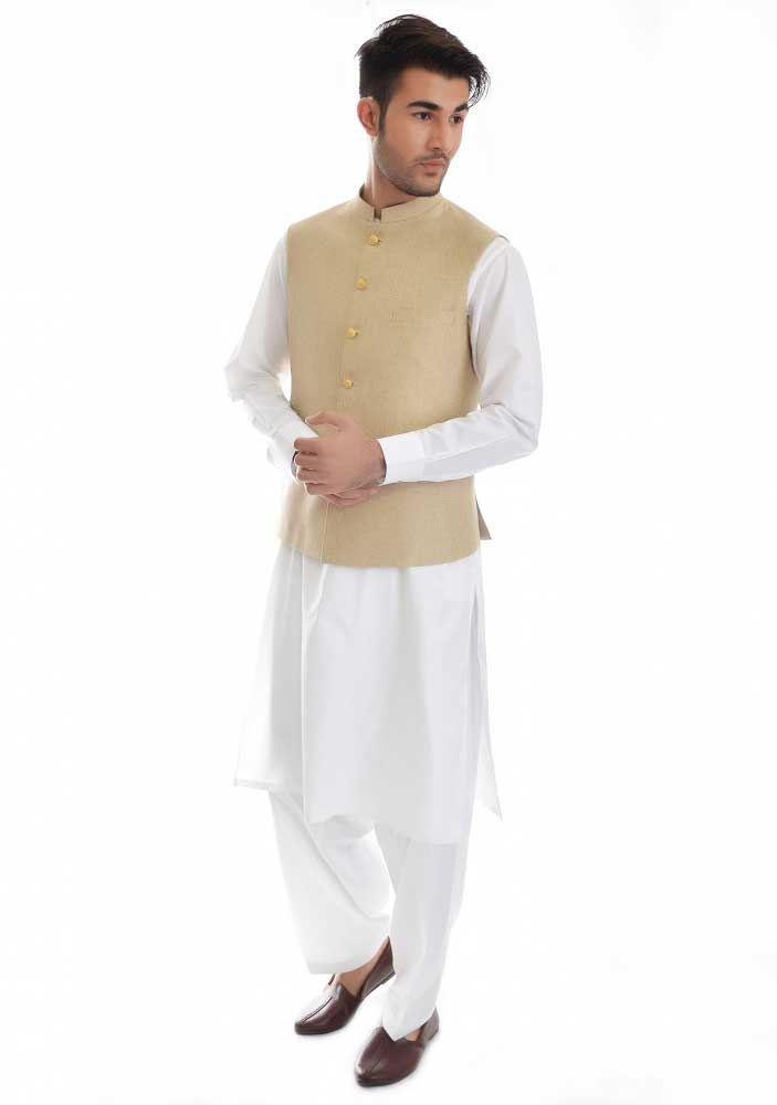 Off white waistcoat with white kurta new Eid kurta dresses for boys 2017 Amir Adnan