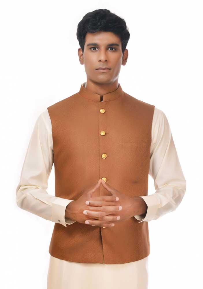 Brown waistcoat new Eid kurta dresses for boys 2017 Amir Adnan
