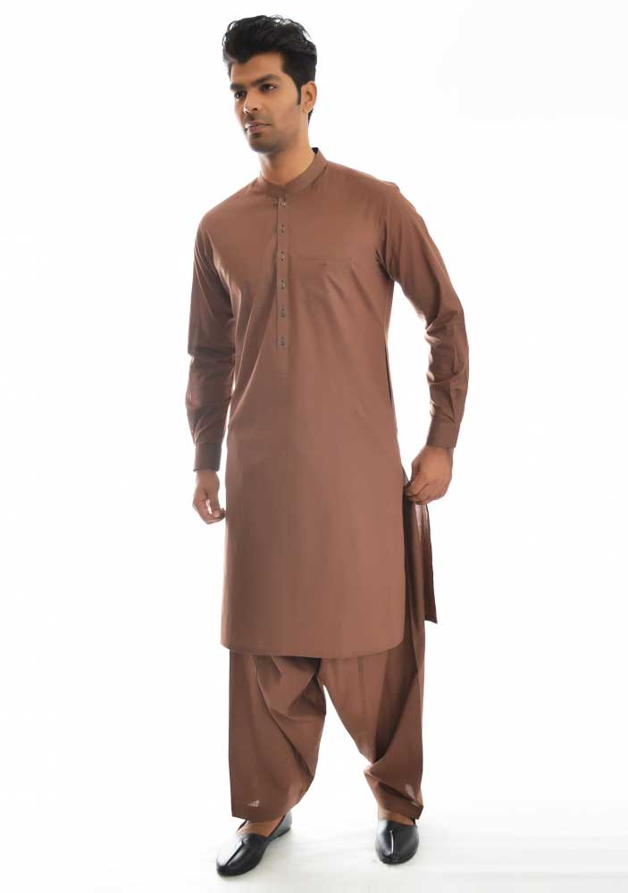 Brown new Eid kurta dresses for boys 2017 Amir Adnan
