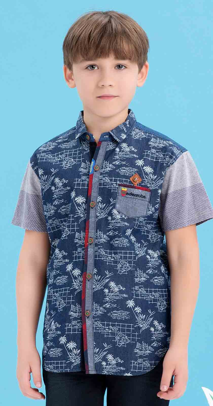 Edenrobe blue shirt latest eid dresses for little boys in Pakistan 2017