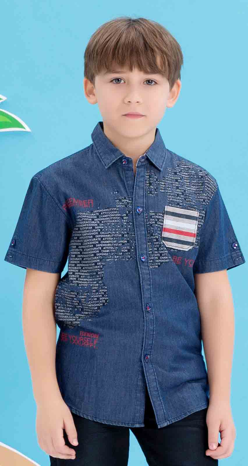 Edenrobe blue shirt with jeans latest eid dresses for little boys in Pakistan 2017