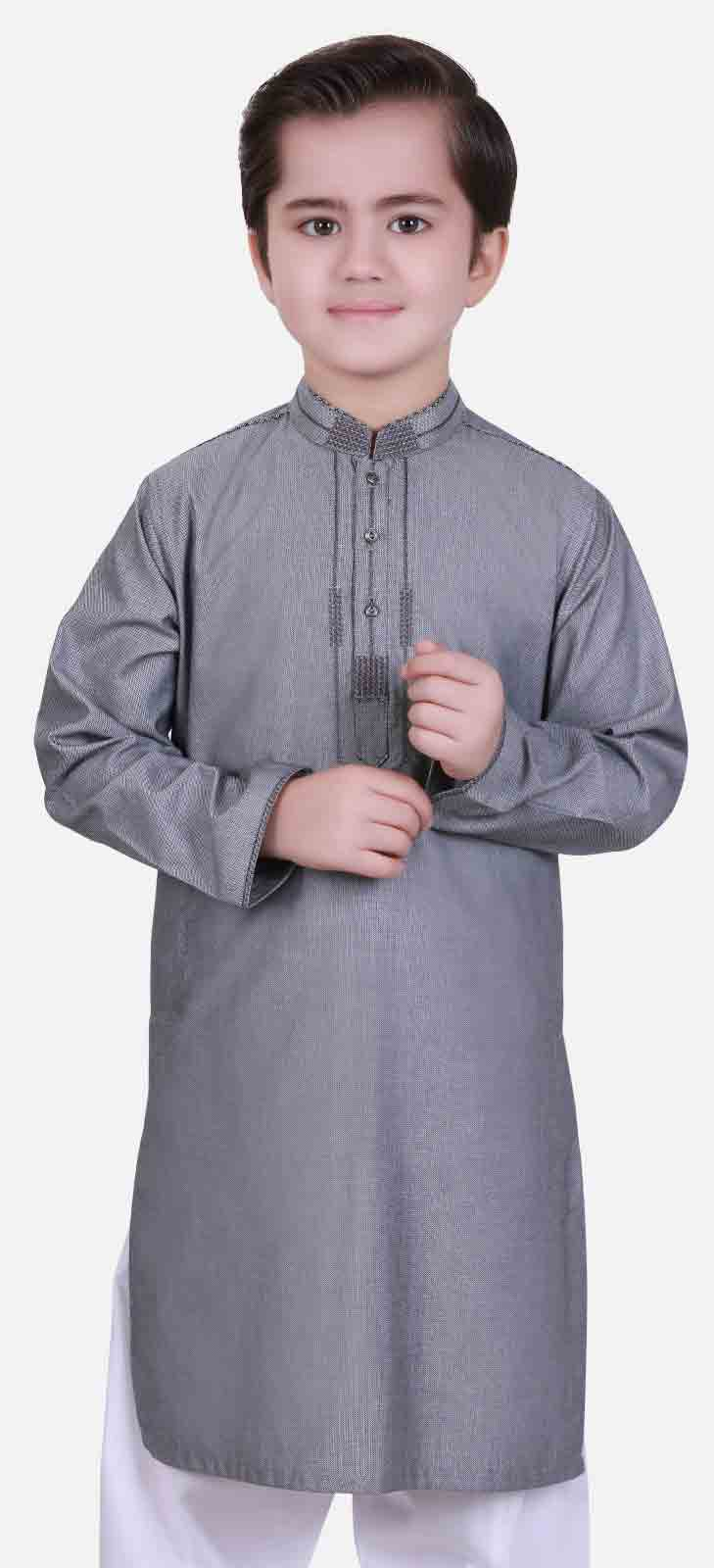 Best grey shalwar kameez latest eid dresses for little boys in Pakistan 2017