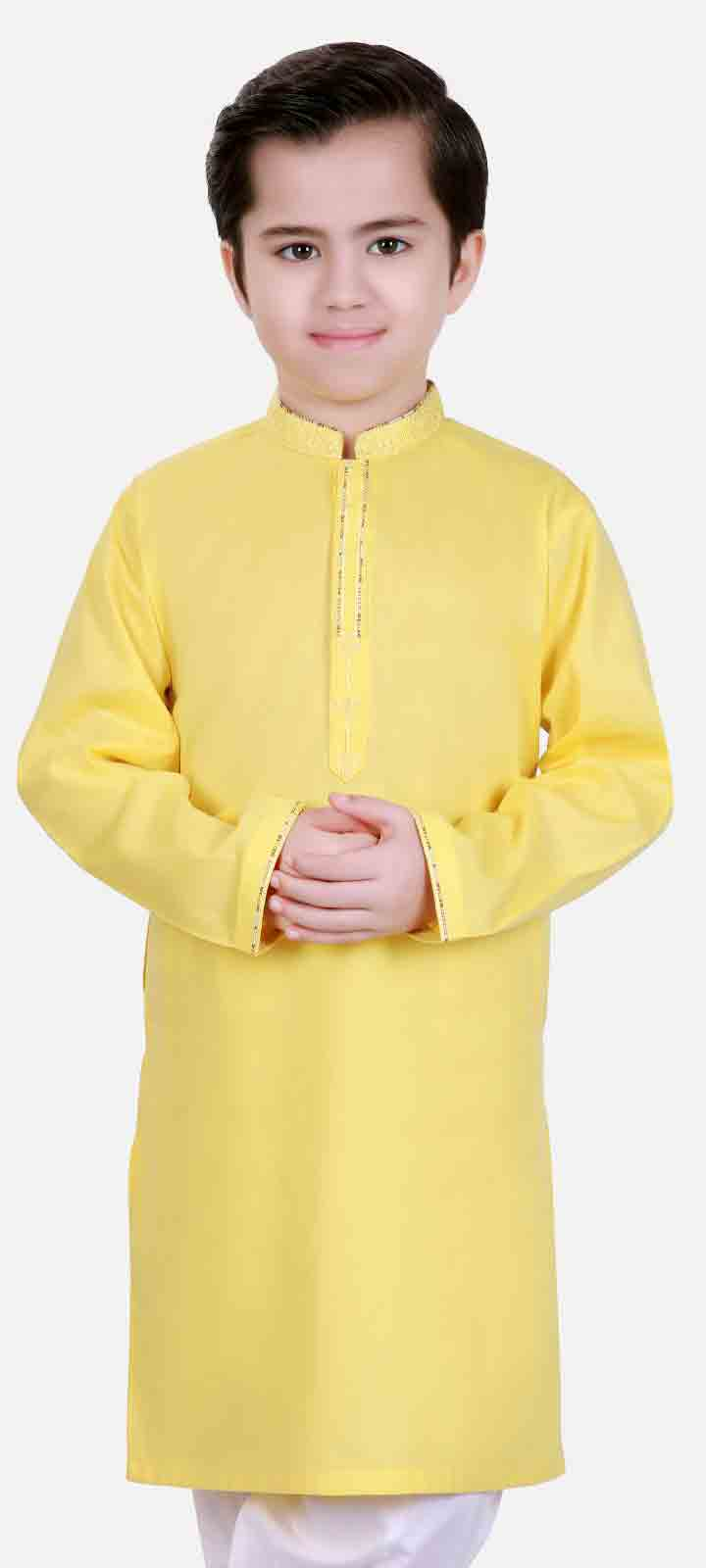 New yellow kameez shalwar latest eid dresses for little boys in Pakistan 2017
