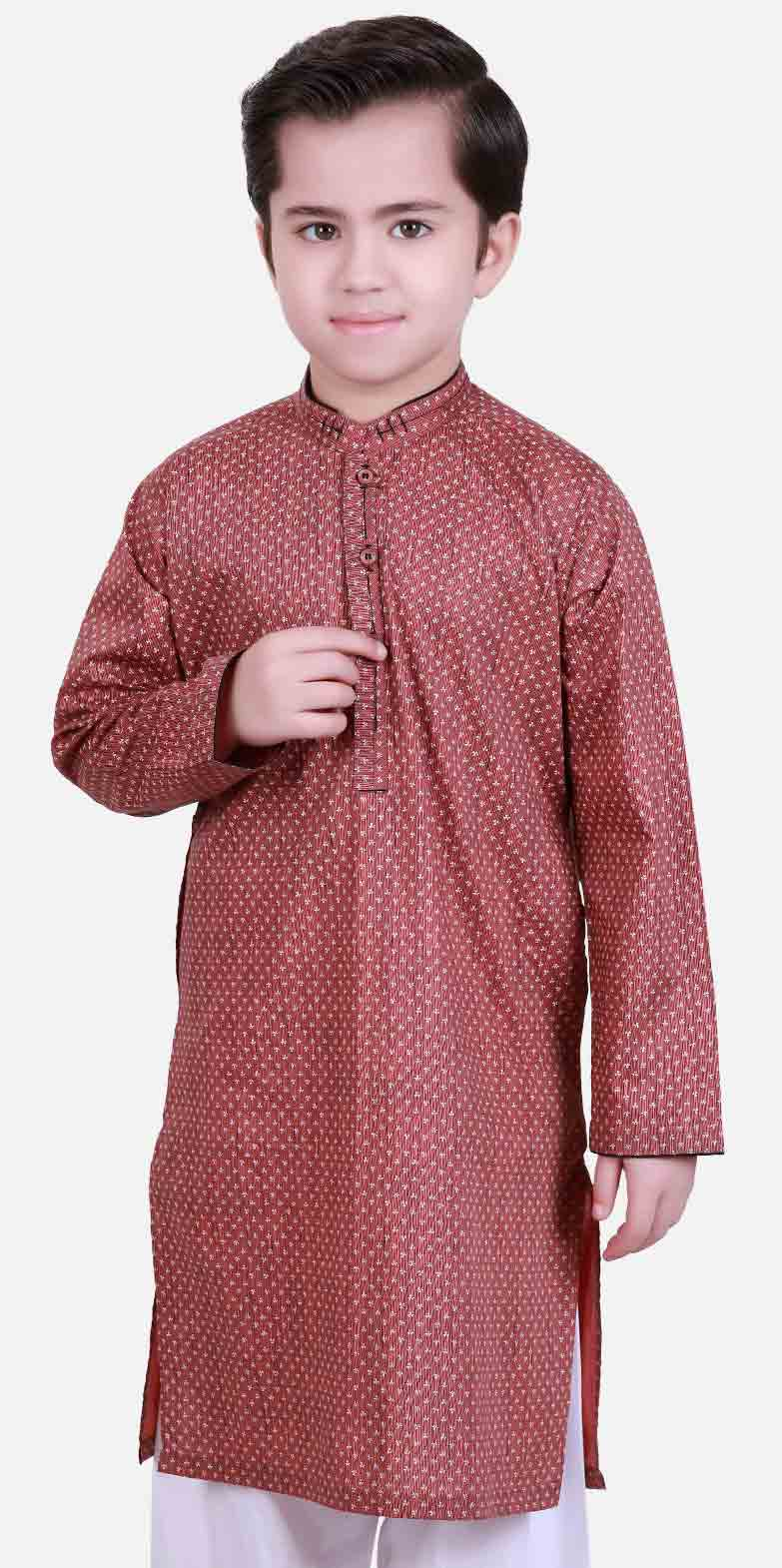 Best maroon kurta latest eid dresses for little boys in Pakistan 2017