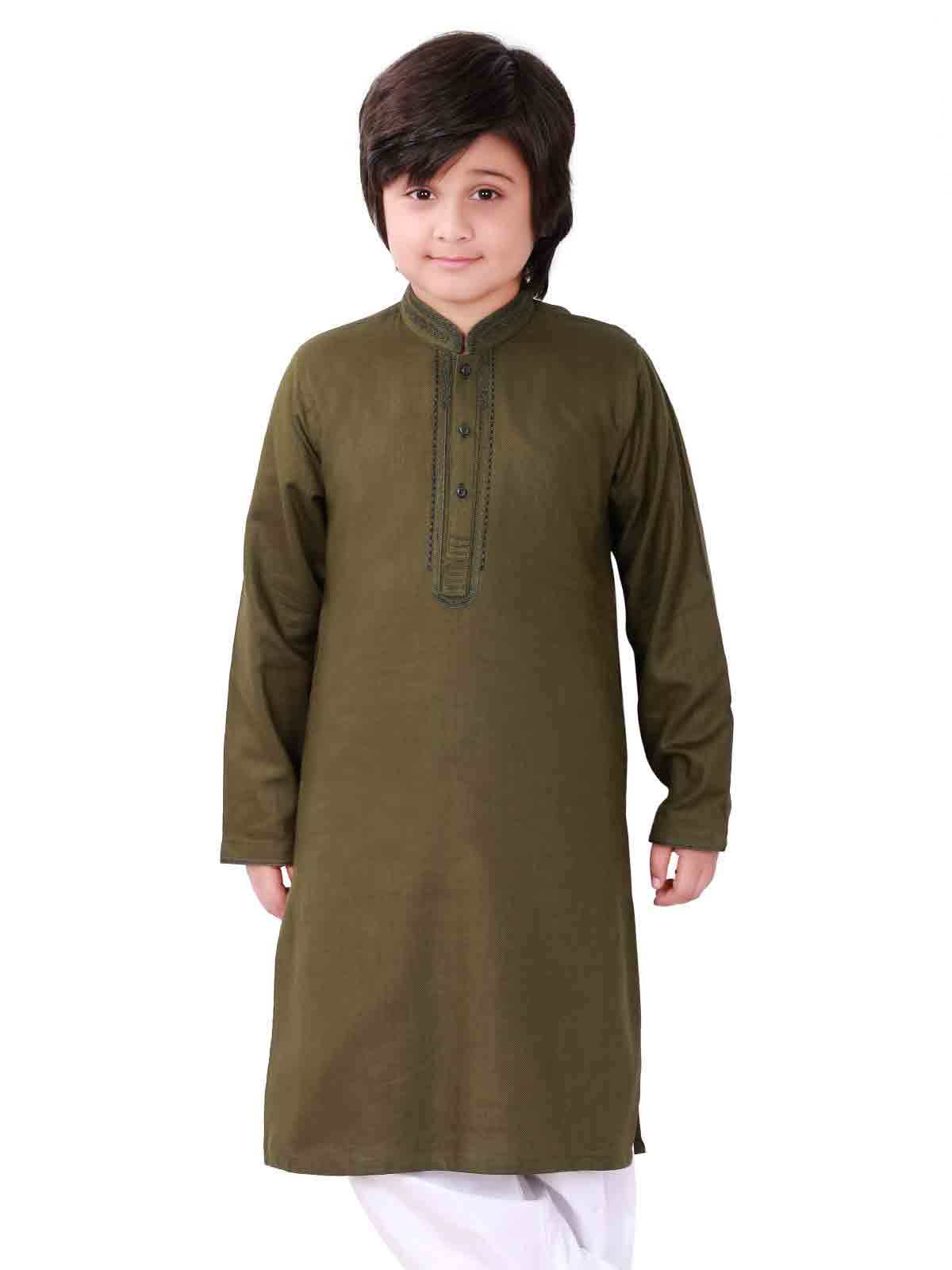 Dark green kameez shalwar latest eid dresses for little boys in Pakistan 2017