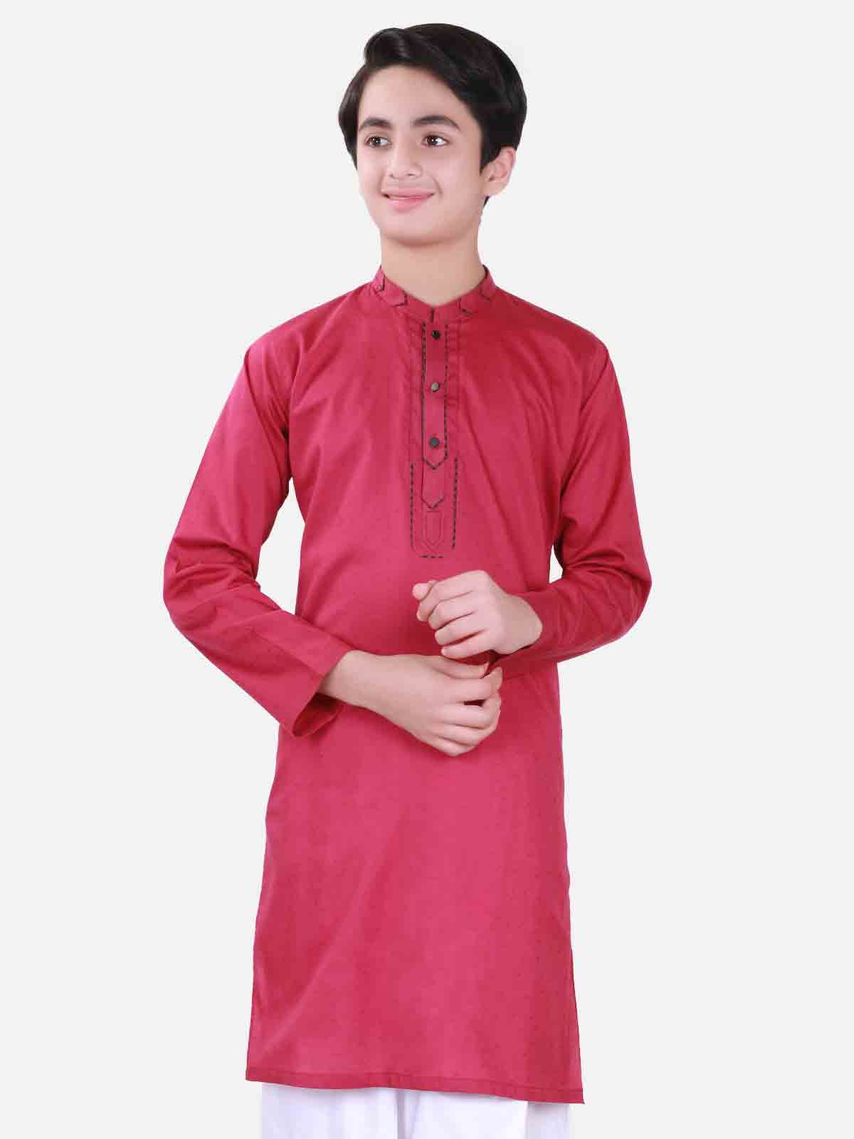 Red kurta with white shalwar latest eid dresses for little boys in Pakistan 2017