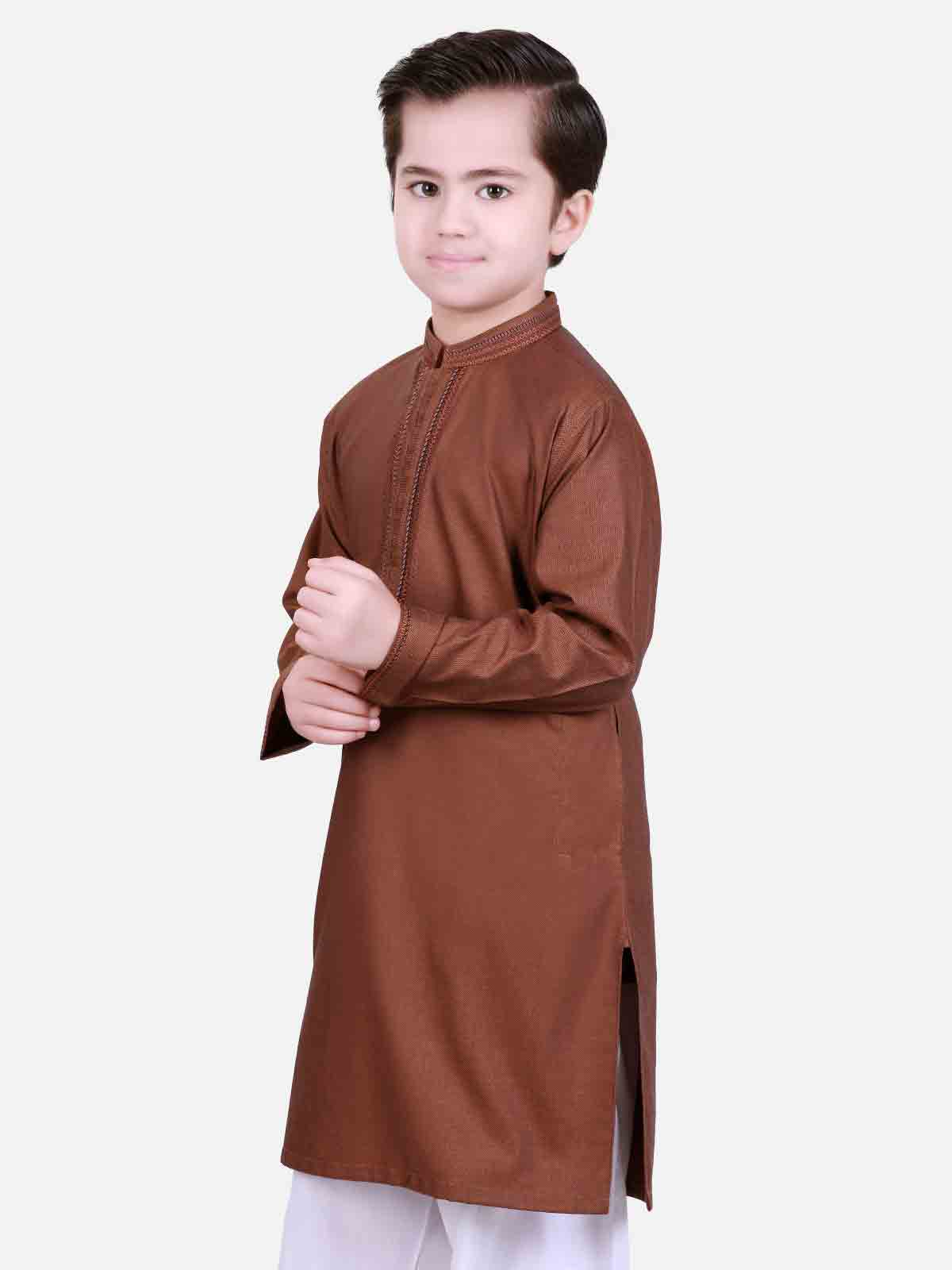 Brown kurta pajama latest eid dresses for little boys in Pakistan 2017