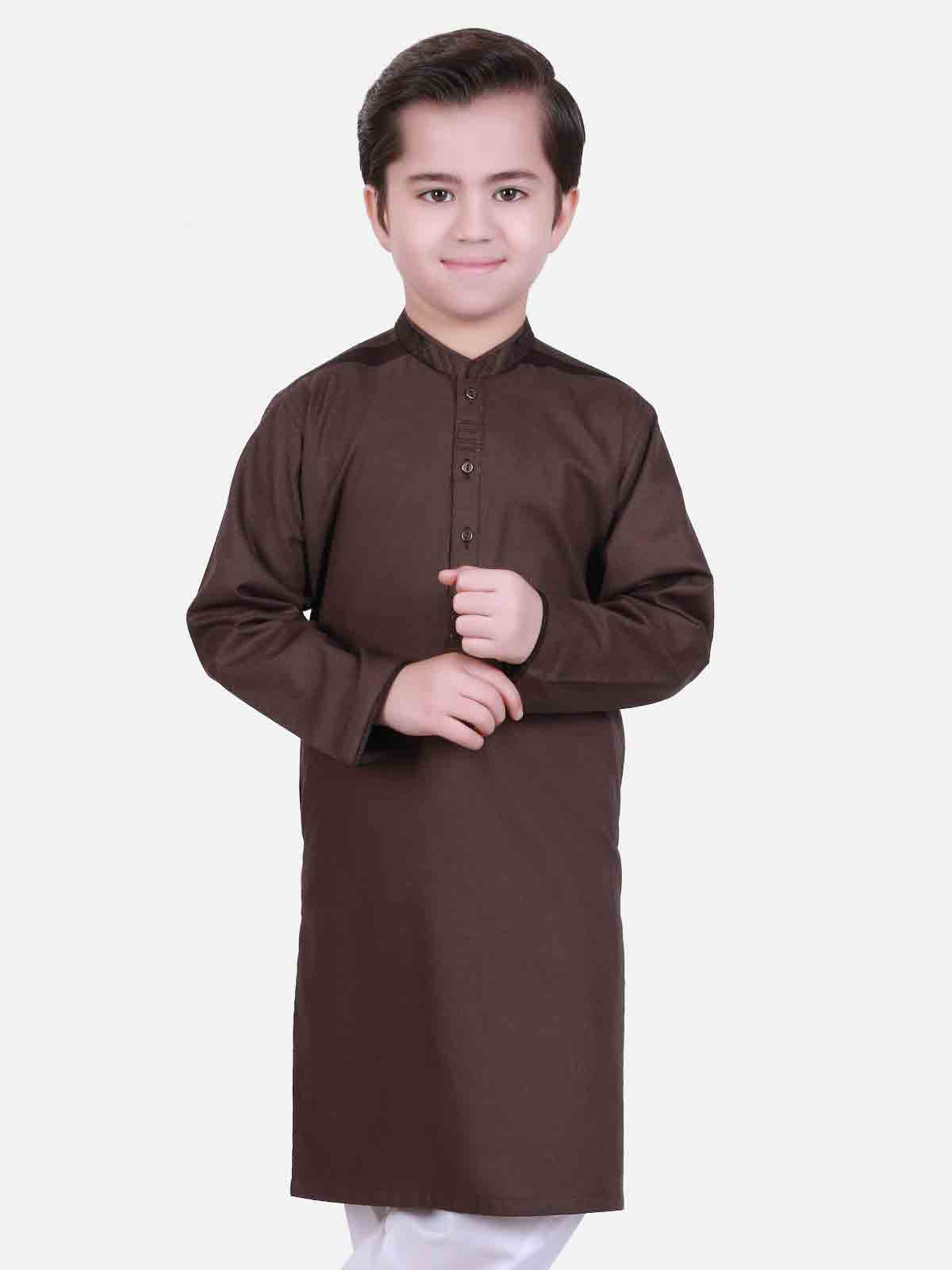 Dark brown kameez shalwar latest eid dresses for little boys in Pakistan 2017