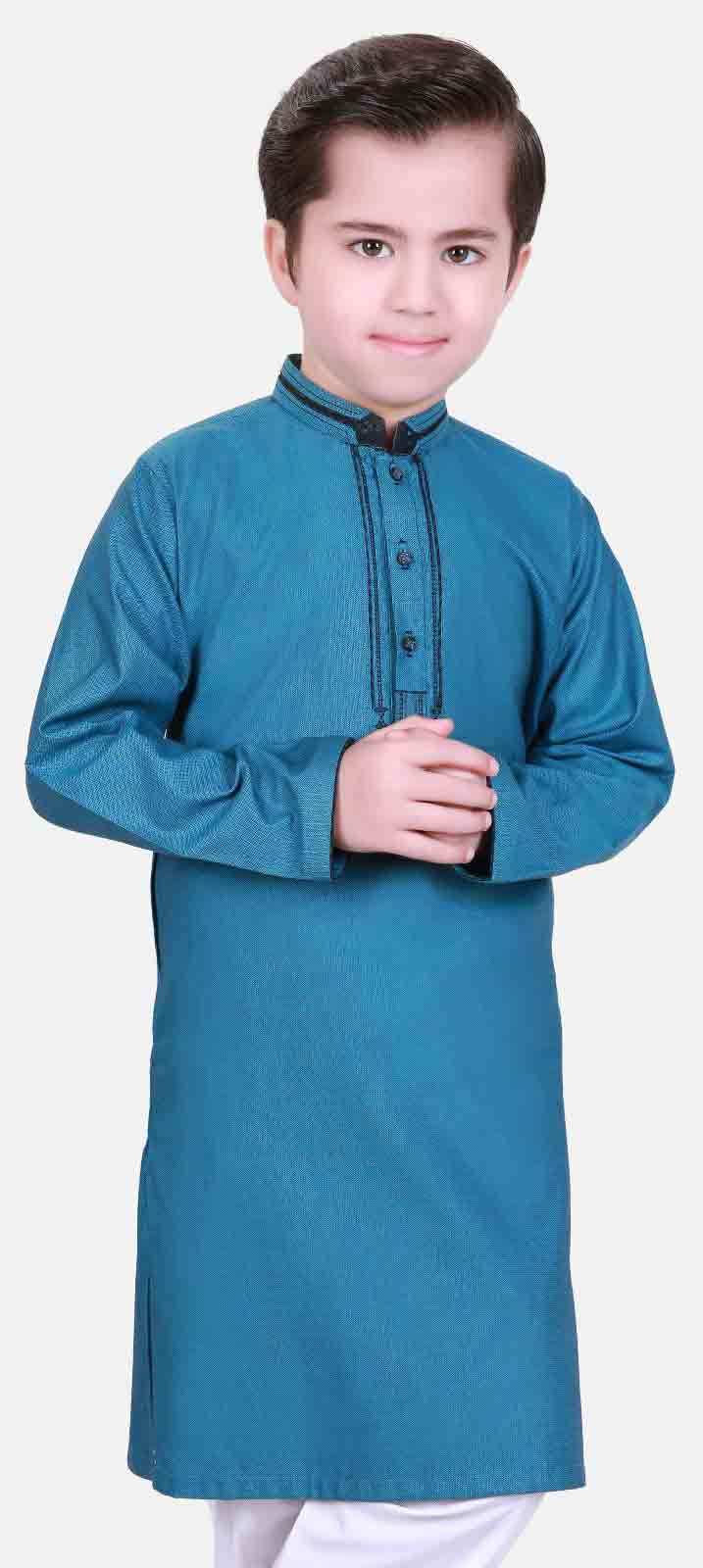 Blue kurta shalwar kameez latest eid dresses for little boys in Pakistan 2017