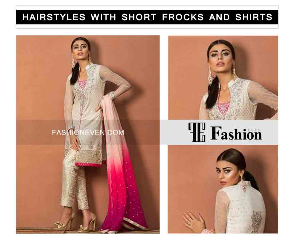 low pony tail eid party hairstyles with short frocks shirts and peplumfor medium hair