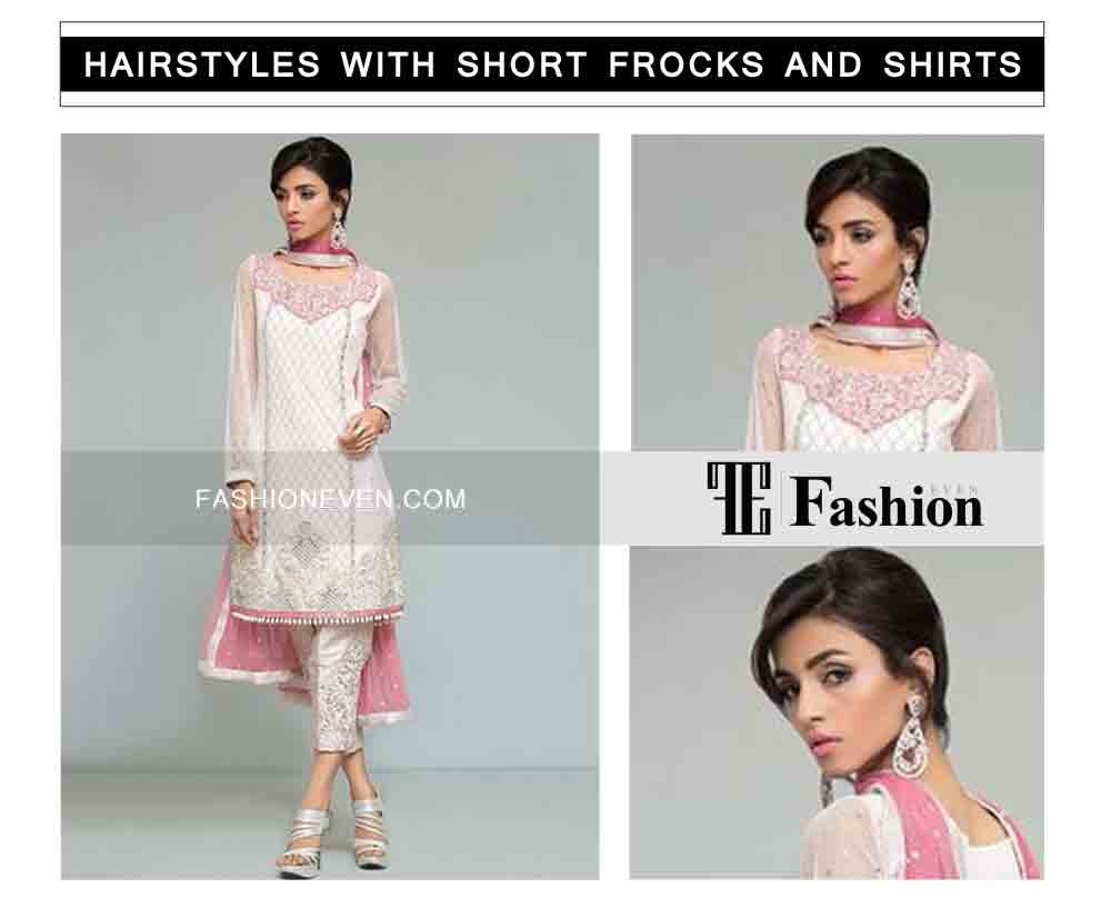 hair updo with front hair puff eid party hairstyles with short frocks shirts and peplum