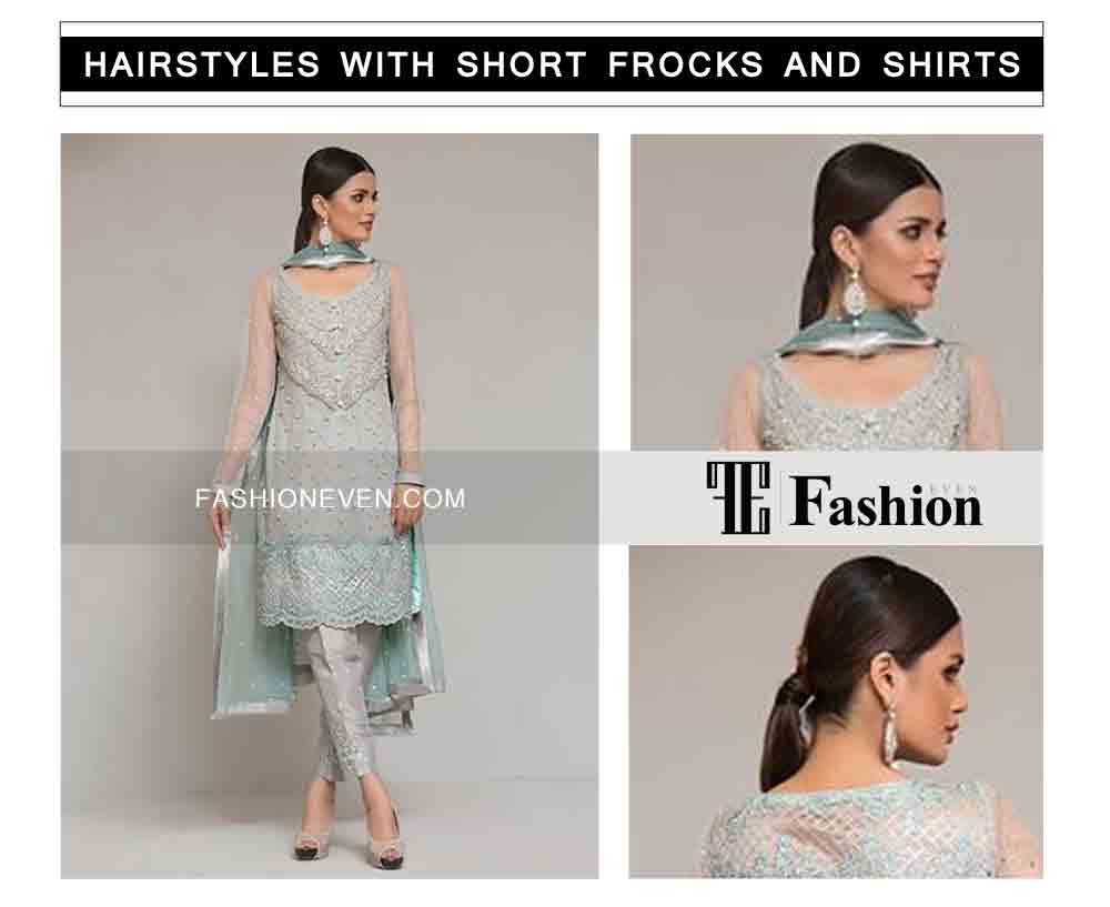 sleek low pony tail with wrapped hair eid party hairstyles with short frocks shirts and peplum