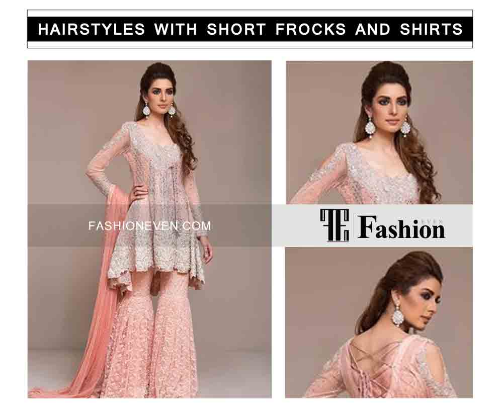 side hair curls with front back comb eid party hairstyles with short frocks shirts and peplum