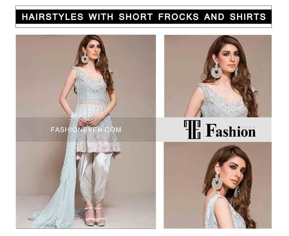 side swept eid party hairstyles with short frocks shirts and peplum