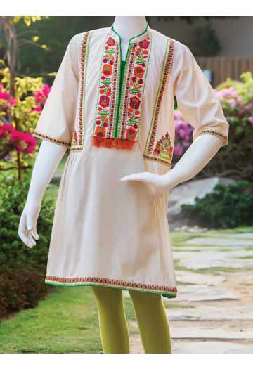 White kurta with embroidered neckline and green tights for little girls latest kids eid dresses for little girls in Pakistan 2017