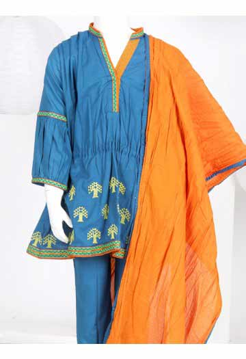 Blue short frock with orange dupatta eid dress for little girls latest kids eid dresses for little girls in Pakistan 2017