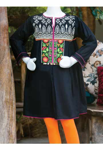 Black kurti for little girls with orange tights latest kids eid dresses for little girls in Pakistan 2017