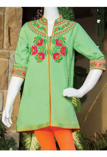 Light green kameez with orange tights latest kids eid dresses for little girls in Pakistan 2017