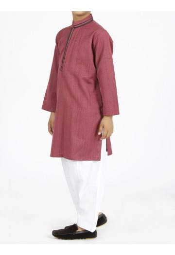 Maroon kurta with white shalwar latest eid dresses for little boys in Pakistan 2017