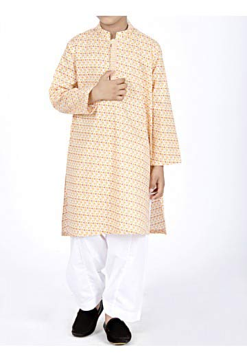 JJ light pink kurta with white shalwar latest eid dresses for little boys in Pakistan 2017