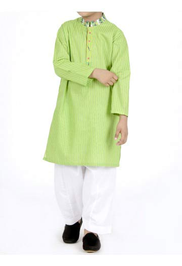 JJ green kurta with white salwar latest eid dresses for little boys in Pakistan 2017