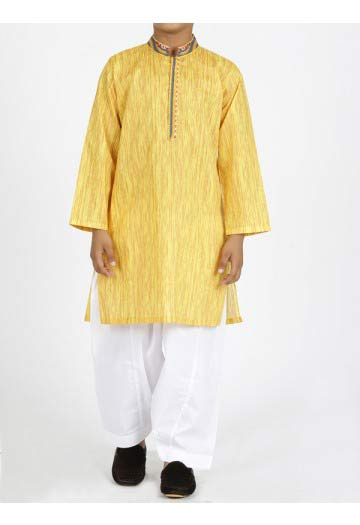 JJ yellow kurta with white shalwar latest eid dresses for little boys in Pakistan 2017